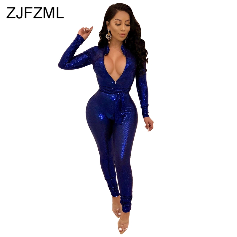 Glitter Sequins Sexy Rompers Womens   Jumpsuit   Blue Front Zipper Long Sleeve Bandage Bodysuit Casual Silver Sashes Party Overall