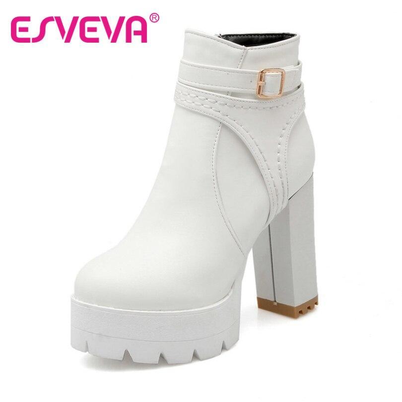 ФОТО ESVEVA 2016 Punk White Autumn Women Shoes Zipper Ladies Square High Heel Ankle Boots Platform Women Fashion Boots PlusSize 34-43