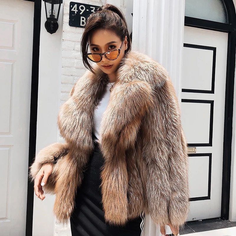 Новые зимние пальто настоящий Лисий мех пальто толстые теплые пушистые лисий мех пальто натуральная кожа натуральный Кофе лиса Меховая кур