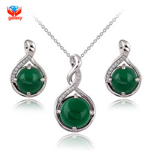 Luxury Real Green Crystal Stud Earrings Pendant Necklace Set For Women Real White Gold Filled Jewelry Sets YS022(China)