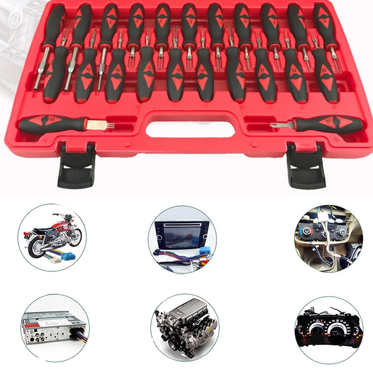 23 pcs/set Car Electrical Terminal Removal Tool Kit Wiring Crimp Connector  Pin Remover Tool Set Release Extractor Puller