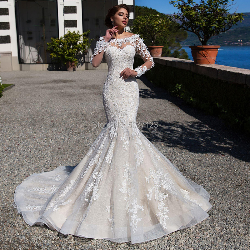 Mermaid Long Sleeves Wedding Dresses Vestido De Novias O Neck Lace Appliques Button Bridal Wedding Gown Marriage Plus Size