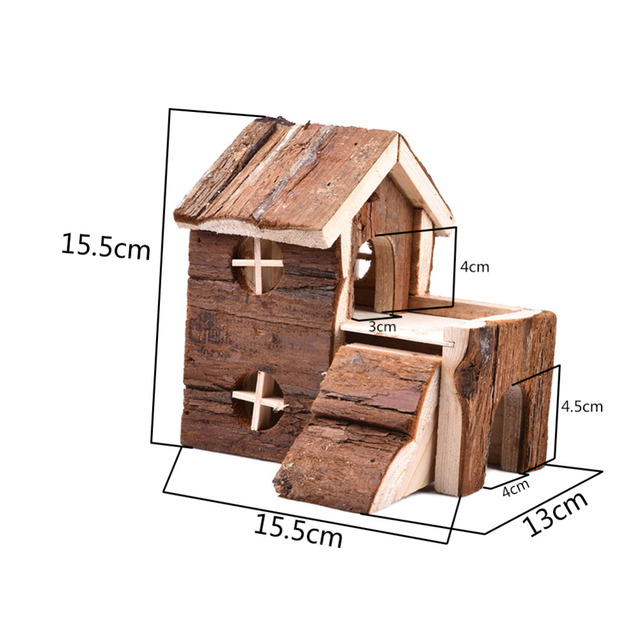 Two-story Wooden House Exquisite House bed for Hamster squirrel Guinea pig Chinchilla  with balcony for Hamster to Hide and Play