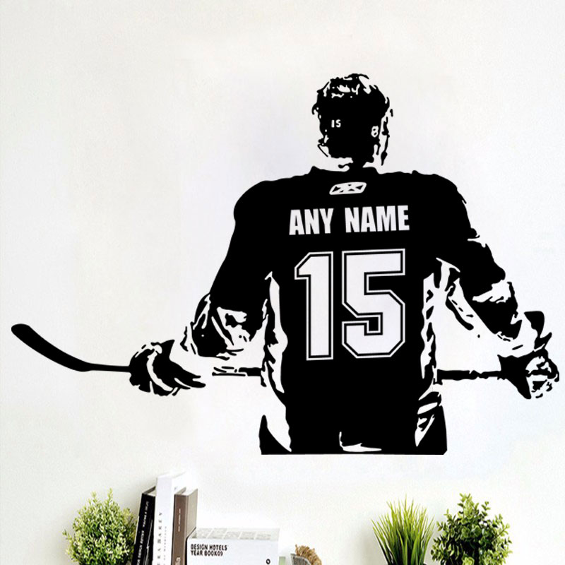 Wall art Custom Large ice Hockey Player choose jersey name and numbers Vinyl wall Decal sticker decor crosby McDavid kids bedroo Стикер
