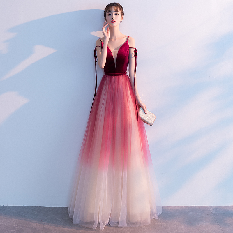YIDINGZS Spaghetti Strap V-neck Wine Red   Evening     Dress   Velour Tulle Party Long   Dress