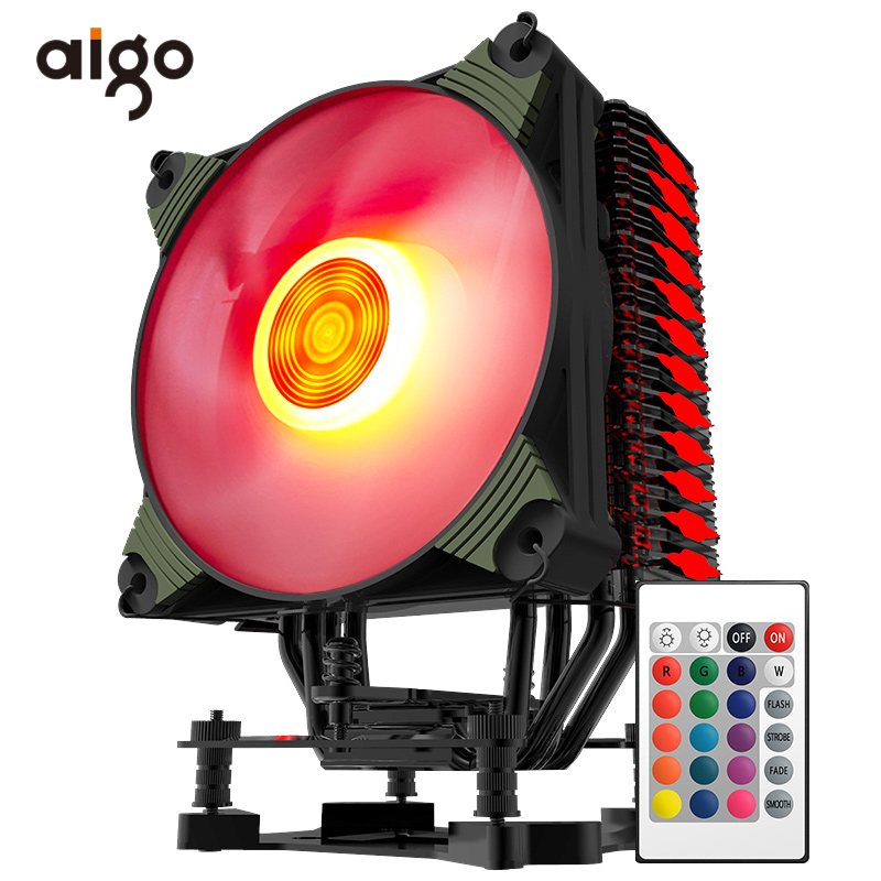 Aigo RGB Led CPU Cooler Radiator for Computer PC CPU Cooling Fan Silent Hydraulic Bearing Water Cooler Fan 12V Ventilador CPU promotion hot 92mm x 25mm 24v 2pin sleeve bearing cooling fan for pc case cpu cooler