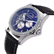 SHENHUA Hollow Skeleton Dial Moon Phase 24 Hour Function Mens Automatic Watch Heren Horloges Erkek Kol