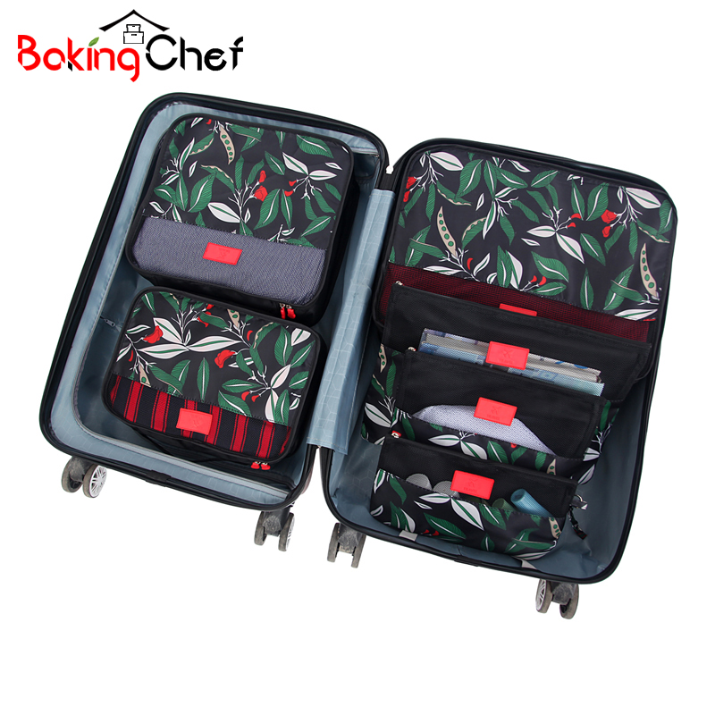 BAKINGCHEF 6Pcs/Set Travel Set Bags Packing Cube Portable Clothing Underwear Sorting Organizer Pouch Cases Accessories Supplies