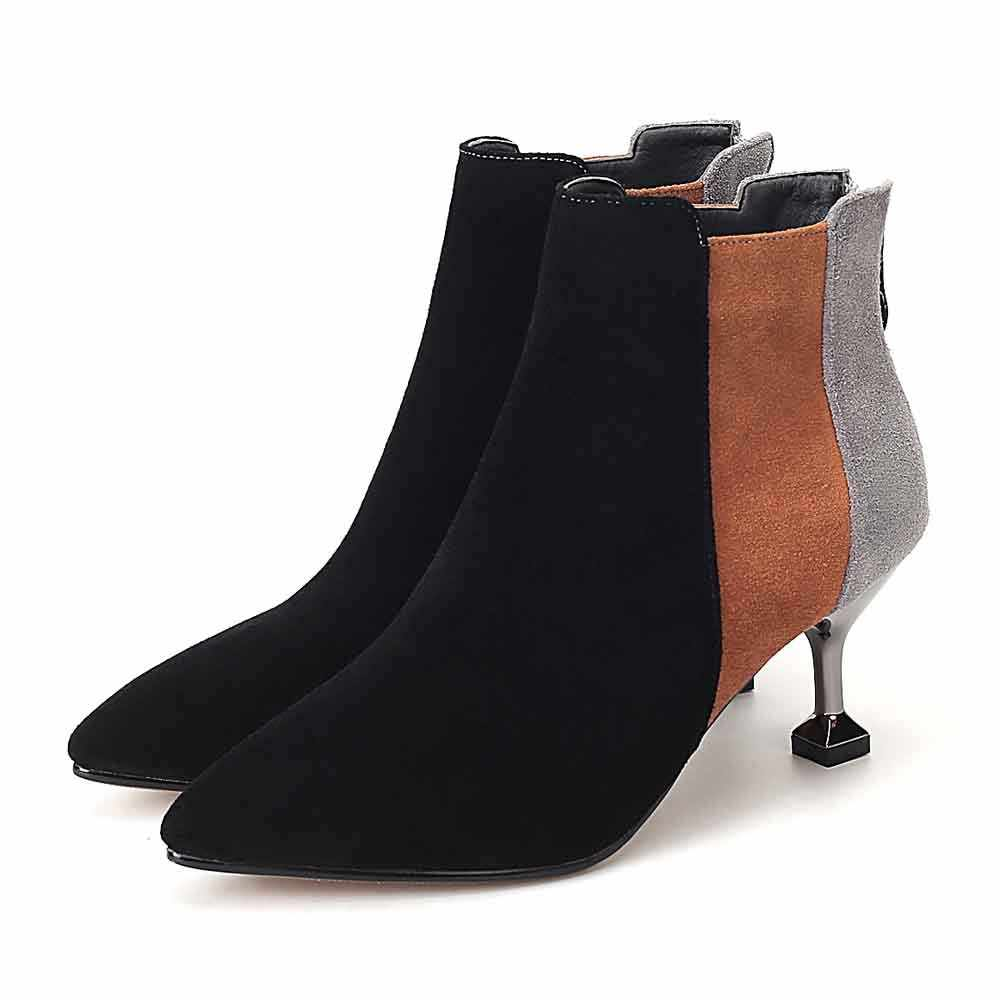 YOUYEDIAN Kadın Botları 2018 yarım çizmeler Kadınlar Için Ince Topuk Karışık Renk Sonbahar Kadın rahat ayakkabılar Yüksek Topuk Botines Mujer
