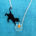 Cute Cat Catching Fish Acrylic Pendant Necklace