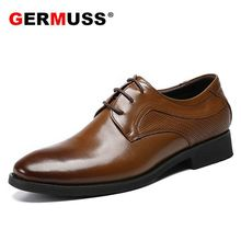 Germuss luxury brand brown men shoes New Spring and Summer Latest Official Sergeant new high quality Leather Mens Oxfords Shoes