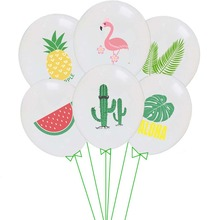 12inch Mixed Flamingo Balloon Round Hawaiian Pattern Balloons Green Fruit Latex Ballon Luau Beach Party Decor