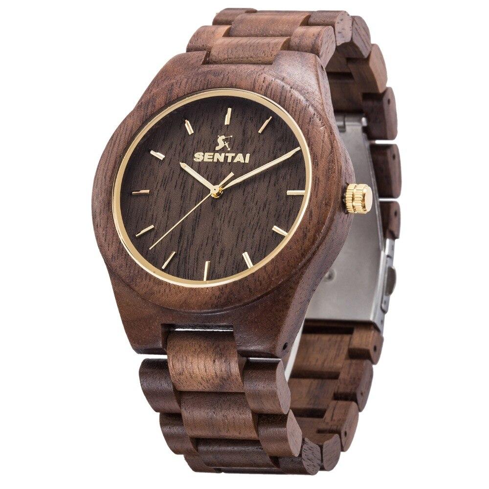 2018 nouveauté Top marque hommes bois montres de luxe mode Vintage noir bois de santal Quartz montre en bois pour homme comme cadeau montre