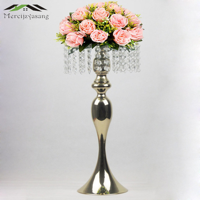 Gold Tabletop Vase Metal Flower Vase 50CM Table Centerpiece For Mariage Metal Flowers Holder For Wedding Decoration 10PCS/LOT