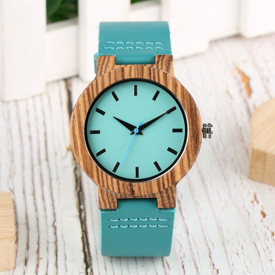 DIY Customized Logo Wood Watch Women Creative Engraved Retro Wooden with Blue Genuine Leather Souvenir Gifts for Girl Girlfriend 2019 2020 2022 (3)