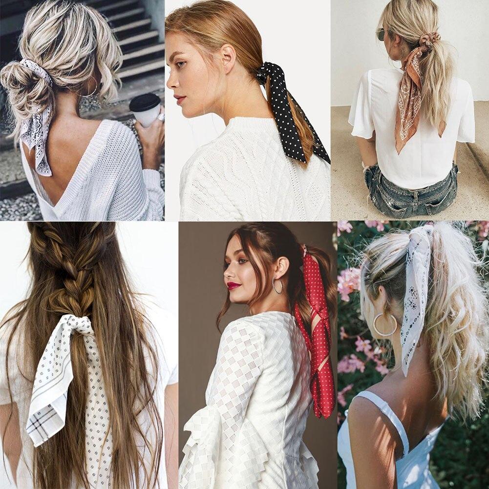 Diy Bow Streamers Elastic Hair Scrunchie Knotted Ribbon Ponytail Print 2019 New Fashion Bohemia Hair Acc Lady Scarf Hair Ties