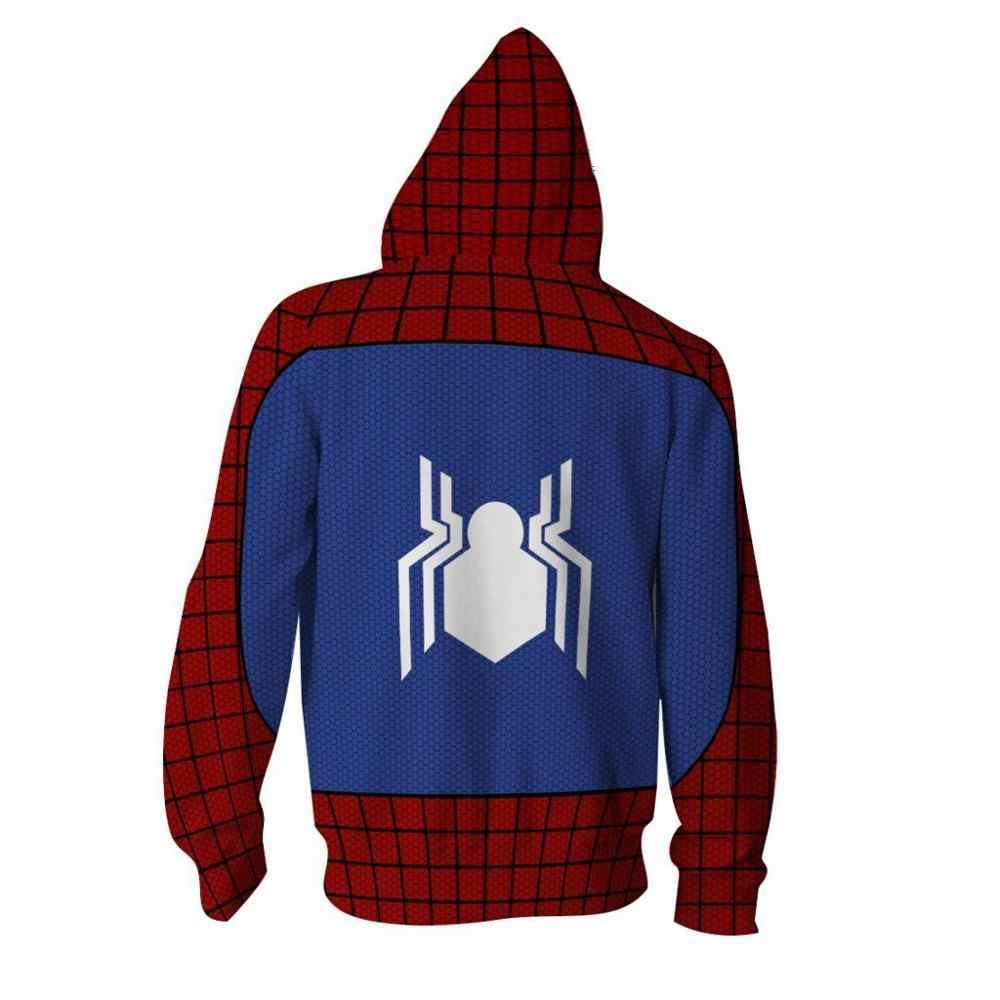 Sudadera con capucha con cremallera 3D SpiderMan sudaderas manga larga con cremallera hombre mujer máscara Spiderman SpiderHoodie Cosplay sudadera chaqueta