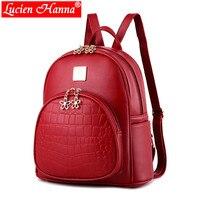 Mini Women's Backpack Female Shoulder Bags PU Leather Small Daypack Solid Schoolbag for Teenagers Girl Black Crocodile Backpacks