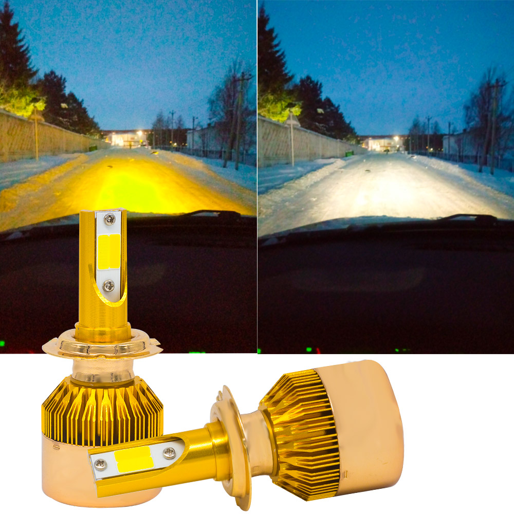 YHKOMS H7 LED Bulb 3000K 6000K Car Headlight H4 H8 H11 H1 H3 9005 9006 880 881 H27 White Yellow Fog Bulbs Dual Color Headlight
