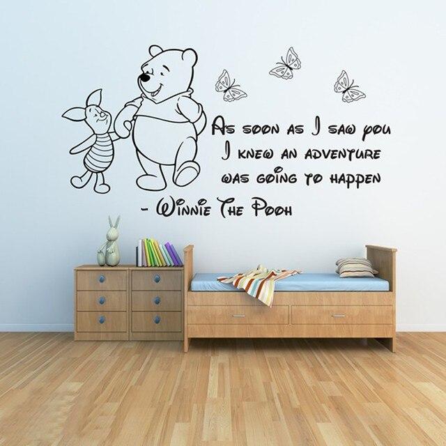 Adesivi Da Parete Per Bambini.Us 12 99 Winnie The Pooh Wall Stickers 3 Adesivi Da Parete Per Bambini Ragazze Ragazzi Bedroom Decor Stickers Murali Quotazioni Muro Bambini