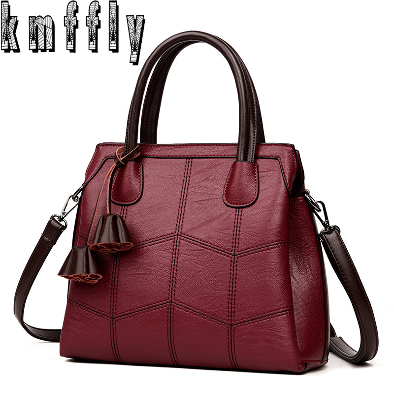 Kmffly Brand Women Bags Genuine Leather 2018 Fashion Handbags High Quality Sheepskin Shoulder Las Sac A Main In Top Handle From