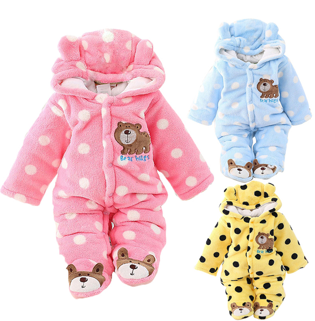 f2bc8b68b Baby Boy Girl Cartoon Jumpsuit Hooded Rompers Fleece Infant Toddler ...