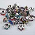 Free Shipping 100pcs/lot Mixed Colors Rhinestone Rondelle Spacers European Large Hole Beads Fit Charms Bracelets 10x4mm 010001