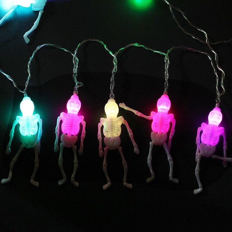 Новый Хэллоуин украшения привело Фонари строка череп Rack LED Батарея лампы строка Крытый DIY домашний бар партии Декор поставки