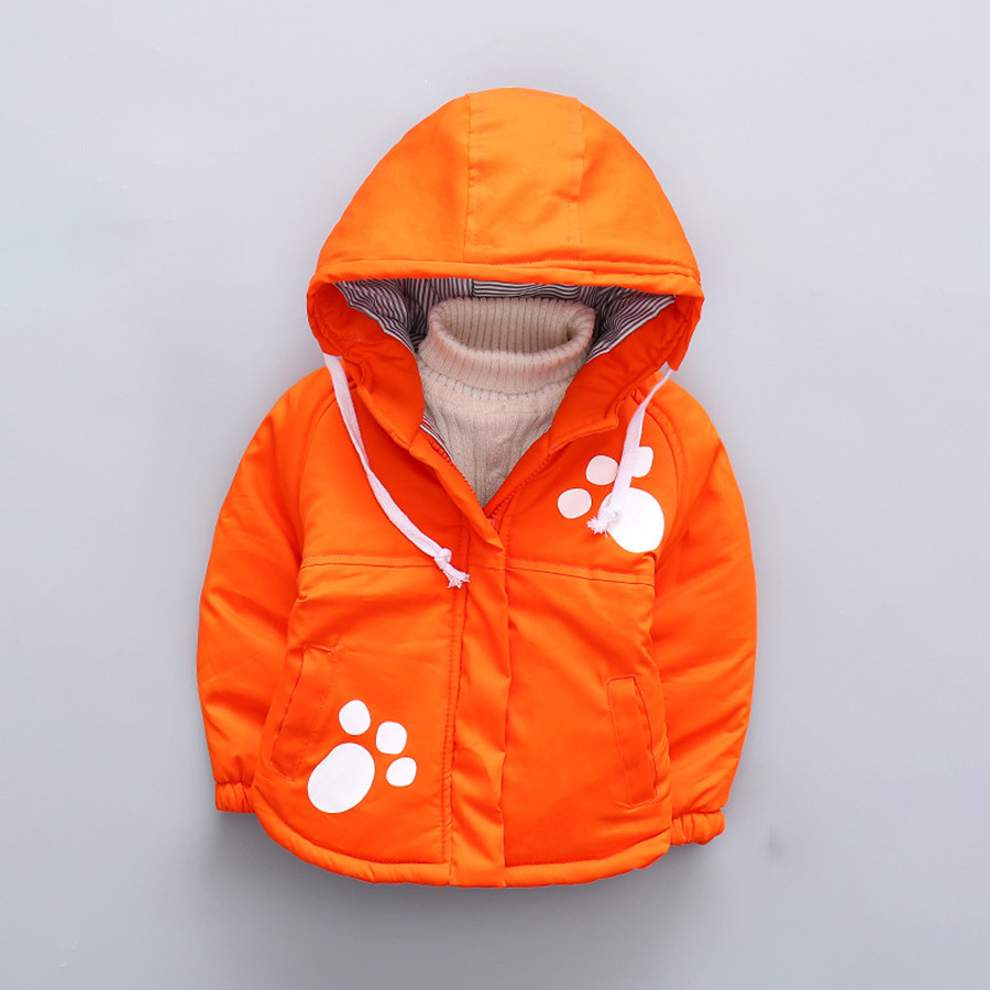 Boys Fall Jackets Cartoon Cow Parkas Children Spring Padded Coat Kids Casual Autumn Jacket For Girls Footprint 2017
