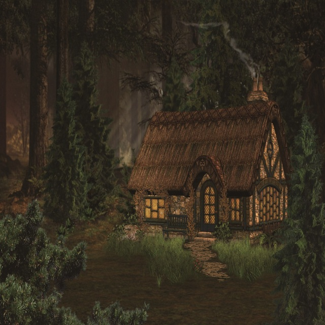 Laeacco Fairytale Forest Wooden House Scene Photography