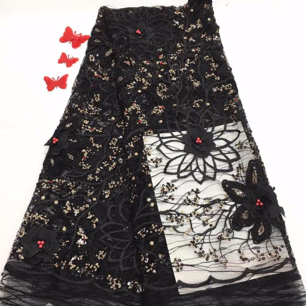 3d flower fabric black african lace with beads 2018 high quality tulle lace luxury dress fabric for wedding 5yard/lot(FJ1810
