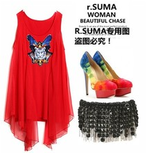 2013 Suma New loose flowing chiffon patchwork hand-beaded tiger - head vest womens T-shirt Free shipping,wholesale and retail
