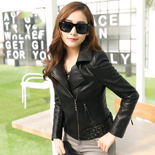 Women's 2017 spring slim motorcycle PU punk clothing female zipper motorcycle plus size women's outerwear 15h102