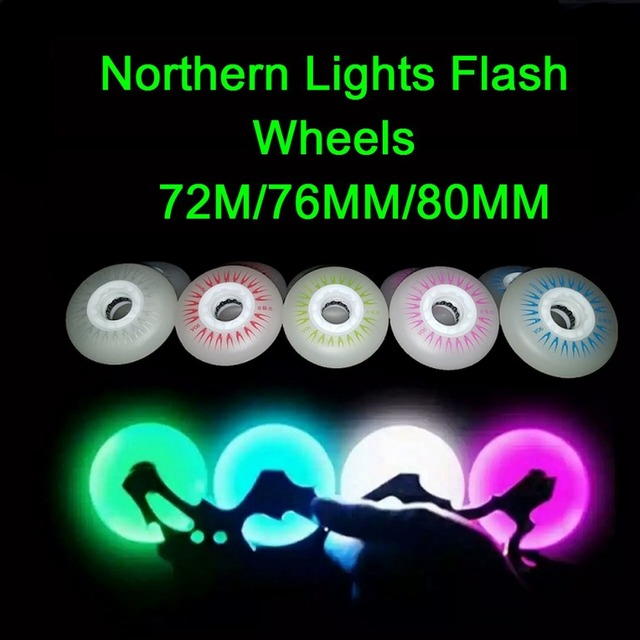 SzBlaZe 4 Pcs 90A 72/76/80mm Led Bright Flash Skate Wheels PU Inline Roller Skates Rodas For Wave Board Caster Board Street Surf