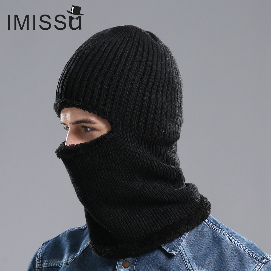 IMISSU Men's Winter Hat Knitted Wool Beanie Outdoor Hats Bonnet Skullies Solid Color Casquette Muts Gorros Balaclava Cap for Men mengpipi womens letters knitted hats winter glass sequins beanie hat cap chapeu gorros de lana touca casquette cappelli bonnets