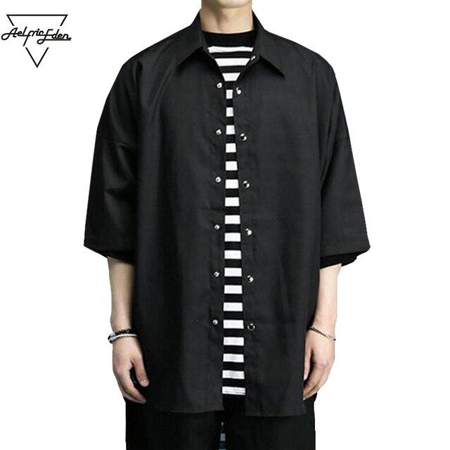 Aelfric Eden Estate Casual uomo Nero Camicia Inghilterra Stile Hi Roccia  strada Hip Hop Parti Superiori 0076d08de5c7