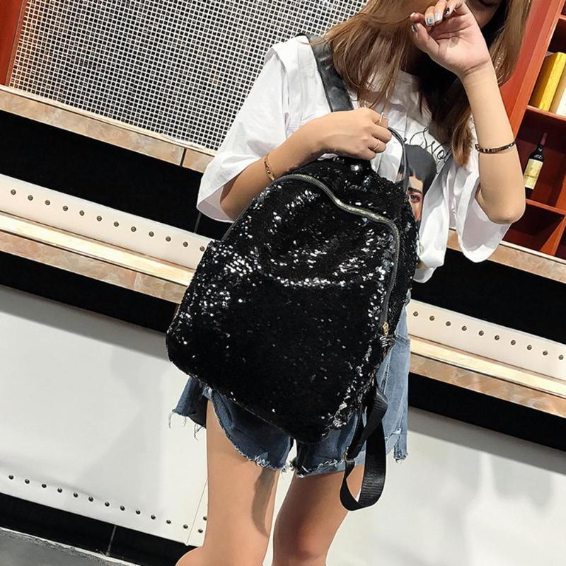 Women Sequins Backpack Teenage Girls Fashion Schoolbag Casual Travel Bling Rucksack Mochila Feminina Holographic Backpack