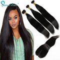 Indian straight hair with lace Closure Free part Unprocessed 6A Grade Human Hair 3 bundles Thick Virgin Straight Hair bundles