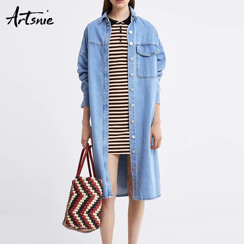 Artsnie streetwear casual blue denim   trench   coat women spring 2019 turn down collar pockets jeans boyfriend long coats female
