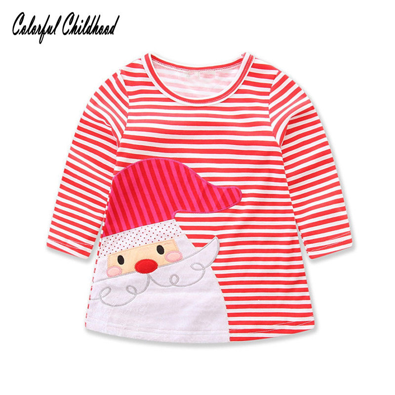 Christmas Cotton Red Long Sleeve Girls Dress Xmas Party stripe Dresses Baby Girls princess Costumes