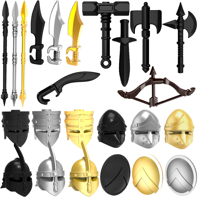 10pcs/lot Weapons Helmet Shield Middle Ages Ancient Greece Rome Spartan Warriors MOC Building Blocks Toys for Children