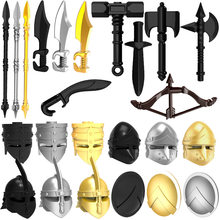 10pcs/lot Weapons Helmet Shield Middle Ages Ancient Greece Rome Spartan Warriors MOC Building Blocks Toys for Children(China)