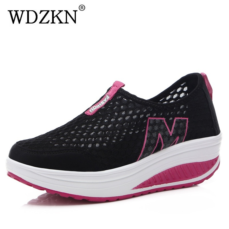 WDZKN Lightweight Breathable Air Mesh Shoes Women Casual Summer Flat Platform Shoes Woman Slip On Swing Shoes Big Size 35-42