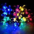 7 M Cereja Floral Solar LED Luzes Cordas Xmas Party Festival Decoração LED Sakura Jardin Jardim Luz Luz Da Corda Lâmpada 50 LEDs