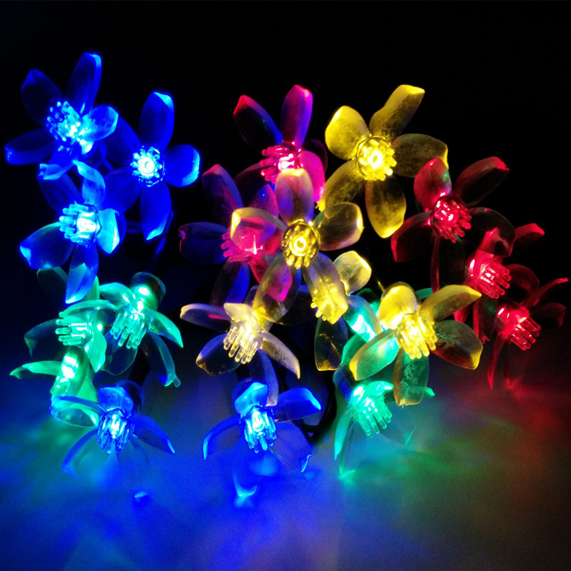 Yiyang 7m solar cherry floral led string lights xmas party for Decoration jardin soiree