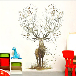 Creative Elk Wall Stickers Living Room Bedroom Wallpaper Poster Art Large Tree Elk's Horn Grass Wall Graphic Decoration Decals