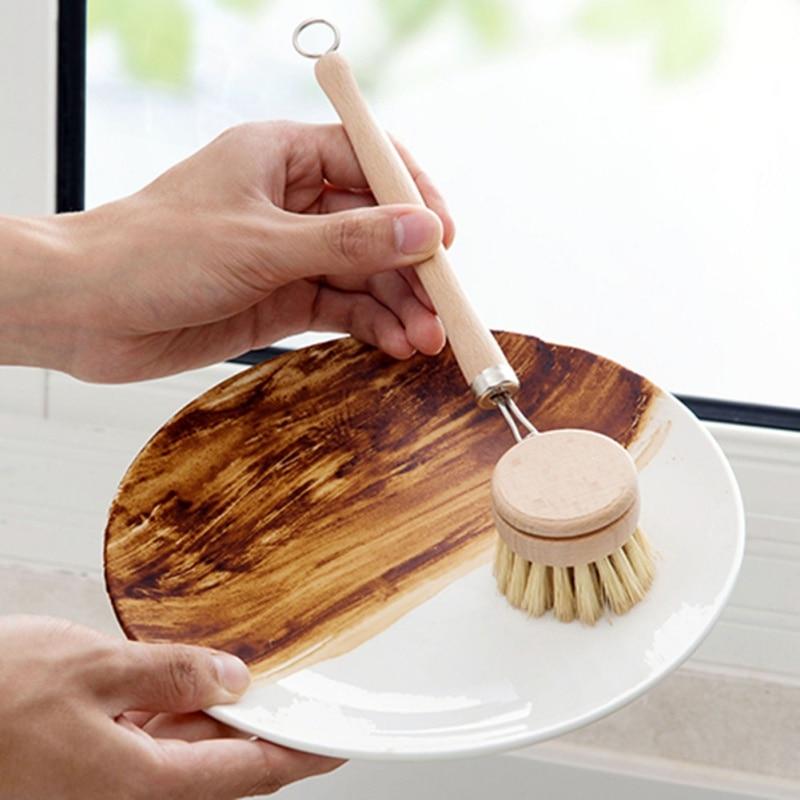 Natural Brush Wooden Long Handle Pan Pot Brush Dish Bowl Washing Cleaning Brush Household Kitchen Gadgets Brushes Cleaning Tools