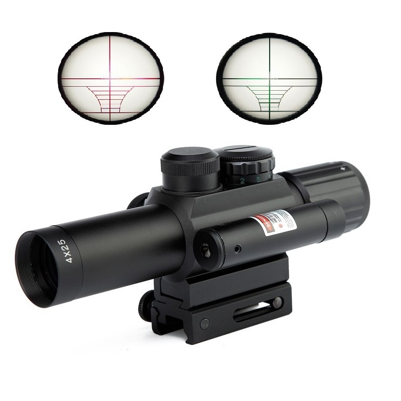 4X25 Tactical M6 Red Green Mil Dot Sight Scope with Red Laser 21mm Rail Mount Aim Airsoft Scope For plastic gun War game 3 10x42 red laser m9b tactical rifle scope red green mil dot reticle with side mounted red laser guaranteed 100%