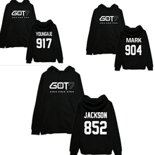 b5e4771c4d918 2016 Nuevo Kpop hip hop got7 mujeres Sudaderas ropa Jerséis moda jersey de  béisbol Jersey marca K pop de manga larga sudaderas