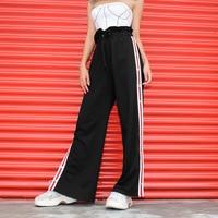 Autumn Print Wide Leg Pants Hip Hop Streetwear Pants Women Casual Loose High Waist Trousers Korean Fashion Side Split Sweatpants